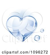 Clipart 3d Shiny Water Droplet Heart Royalty Free Vector Illustration