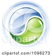 Clipart 3d Shiny Water And Green Yin Yang Royalty Free Vector Illustration