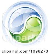 Clipart 3d Shiny Water And Green Yin Yang Royalty Free Vector Illustration