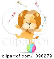 Clipart Talented Circus Lion Juggling Pins And Standing On A Ball Royalty Free Vector Illustration
