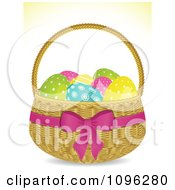 Clipart 3d Easter Egg Basket With Spotted Eggs And A Pink Bow And Ribbon Royalty Free Vector Illustration