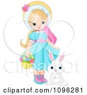 Clipart Pretty Girl With A Cute Bunny And A Basket Of Easter Eggs Royalty Free Vector Illustration by Pushkin