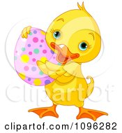 Clipart Cute Easter Duck Holding A Spotted Egg Royalty Free Vector Illustration by Pushkin