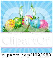 Clipart Decorated Easter Eggs And Snowdrop Flowers Over Blue Rays With Copyspace Royalty Free Vector Illustration