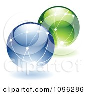 Clipart 3d Shiny Ecology Or Networking Globes Royalty Free Vector Illustration
