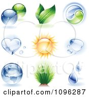 Clipart 3d Shiny Ecology And Nature Icons Royalty Free Vector Illustration