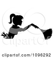 Clipart Sexy Black Silhouetted Fench Maid House Keeper Or Housewife Cleaning With A Duster 4 Royalty Free Vector Illustration