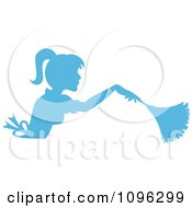 Clipart Sexy Blue Silhouetted Fench Maid House Keeper Or Housewife Cleaning With A Duster 3 Royalty Free Vector Illustration by Pams Clipart