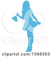 Sexy Blue Silhouetted Fench Maid House Keeper Or Housewife Cleaning With A Duster 1