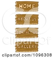 Clipart Home About Us Contact Us And Gallery Wood Carved Icons Royalty Free Vector Illustration
