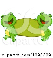 Clipart Happy Frogs Carrying A Green Banner Royalty Free Vector Illustration