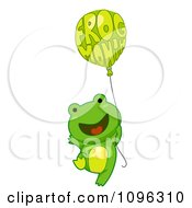 Happy Frog Floating With A Frog Month Balloon