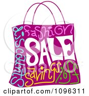 Clipart Purple Shopping Bag With Sale Text Royalty Free Vector Illustration