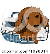 Clipart Happy Long Haired Dachshund Dog In A Pet Carrie Royalty Free Vector Illustration
