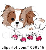 Clipart Happy Papillion Puppy Dog Wearing Pink Polka Dot Shoes Royalty Free Vector Illustration