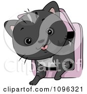 Clipart Cute Cat Coming In Through A Pet Door Royalty Free Vector Illustration