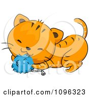 Clipart Cute Ginger Cat Playing With A Blue Catnip Toy Royalty Free Vector Illustration