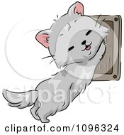 Clipart Cute Cat Using A Wall Mounted Scratching Pad Royalty Free Vector Illustration
