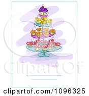 Clipart Invite Of Cupcakes With Colorful Frosting On A Stand Royalty Free Vector Illustration