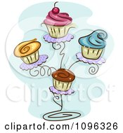 Cupcakes With Colorful Frosting On A Stand