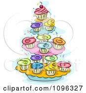 Clipart Layers Of Cupcakes With Colorful Frosting On A Stand Royalty Free Vector Illustration