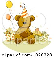 Clipart Teddy Bear With A Birthday Cupcake Presents And Party Balloons Royalty Free Vector Illustration