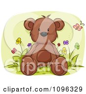 Clipart Cute Brown Teddy Bear Sitting In A Flower Bed Royalty Free Vector Illustration