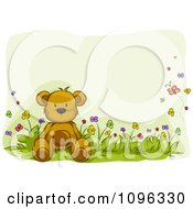 Clipart Teddy Bear Sitting In A Flower Bed With Butterflies And Copyspace Royalty Free Vector Illustration