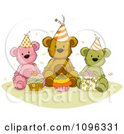 Clipart Teddy Bears With Birthday Cupcakes Presents And Confetti Royalty Free Vector Illustration