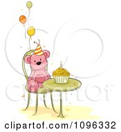Clipart Pink Teddy Bear At A Table With A Birthday Cupcake And Party Balloons Royalty Free Vector Illustration