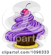 Purple Frosted Cupcake With A Cherry And Sprinkles