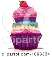 Clipart Triple Layered Cupcake Topped With A Strawberry And Sprinkles Royalty Free Vector Illustration by BNP Design Studio