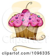 Pink Frosted Cupcake With Sprinkles And A Cherry Over Copyspace