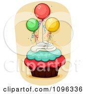Clipart Triple Frosted Cupcake Topped With Party Balloons Royalty Free Vector Illustration