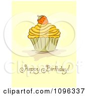 Happy Birthday Greeting Under A Cupcake With A Strawberry
