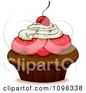 Clipart Triple Frosted Cherry Topped Cupcake Royalty Free Vector Illustration
