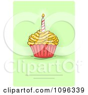 Clipart Birthday Party Invite With A Candle And Cupcake On Green Royalty Free Vector Illustration by BNP Design Studio