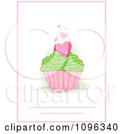 Clipart Party Invite With A Heart Cupcake With A Pink Border Royalty Free Vector Illustration