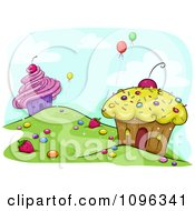 Cupcake Houses On A Hill Side With Balloons Floating Away