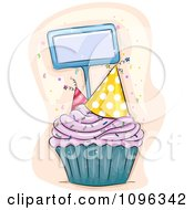 Cupcake With Sprinkles And Party Hats With A Blank Tag