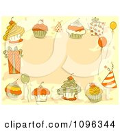 Clipart Party Border Of Balloons Gifts Hats And Cupcakes Over Tan Royalty Free Vector Illustration