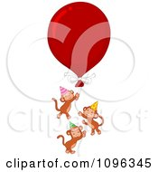 Clipart Three Party Monkeys Floating With A Large Red Balloon Royalty Free Vector Illustration