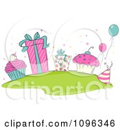 Clipart Pink Beige And Turquoise Birthday Cupcakes Gifts And Balloons Royalty Free Vector Illustration