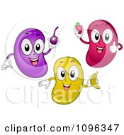 Clipart Grape Strawberry And Banana Flavored Jelly Beans Holding Fruits Royalty Free Vector Illustration