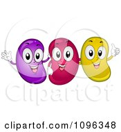 Clipart Happy Jelly Beans Smiling Waving And Holding A Thumb Up Royalty Free Vector Illustration by BNP Design Studio