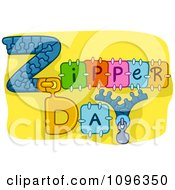Clipart Zipper Day Text On Yellow Royalty Free Vector Illustration