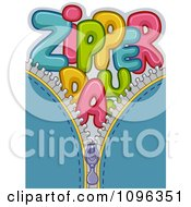 Clipart Colorful Zipper Day Text On Blue Royalty Free Vector Illustration