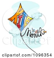 Clipart Kite Month Text Floating In A Cloudy Sky Royalty Free Vector Illustration