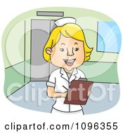 Happy Female Nurse Smiling And Writing Notes On A Medical Chart