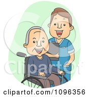Clipart Male Geriatric Nurse Tending To A Senior Man Royalty Free Vector Illustration